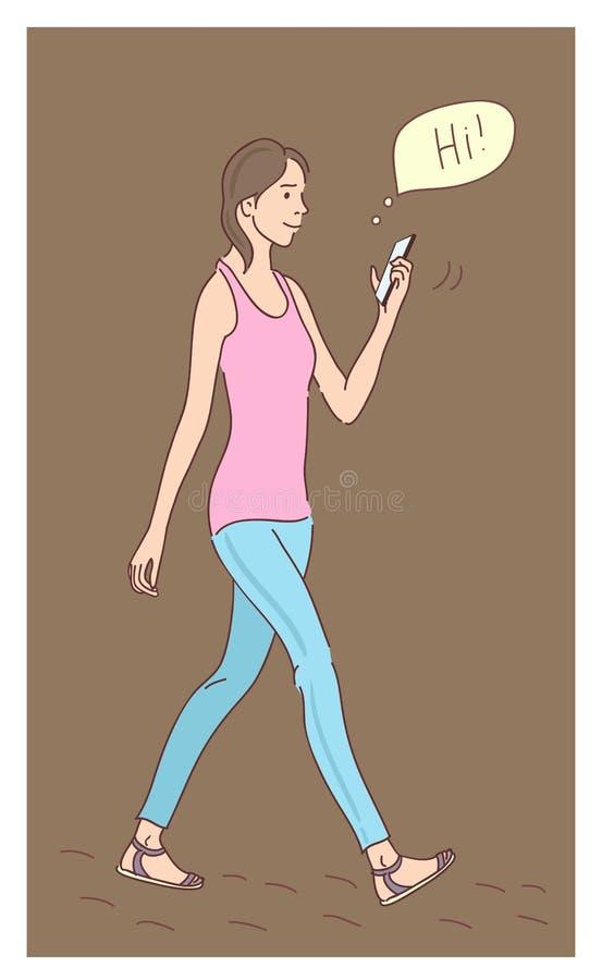 Mädchen, das flache Entwurfskarikatur des Smartphone verwendet lizenzfreie abbildung