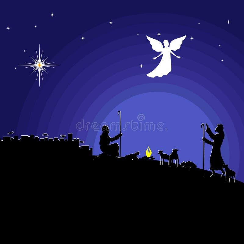 Mädchen, das an Geschenke für Weihnachten denkt Nacht Bethlehem Ein Engel schien zu den Schäfern, über die Geburt des Retters Jes stock abbildung