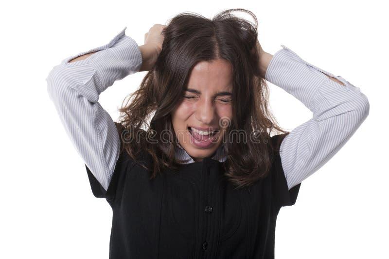 Mädchen, das Haar schreit und zieht stockfoto