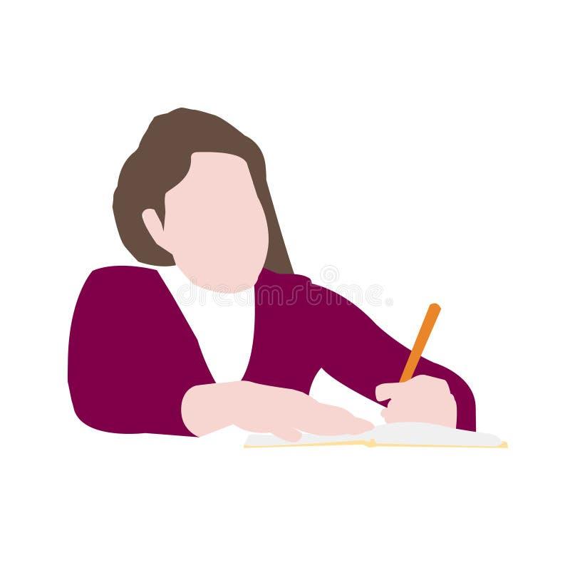 Mädchen, das homeworks Vektor studiert stock abbildung