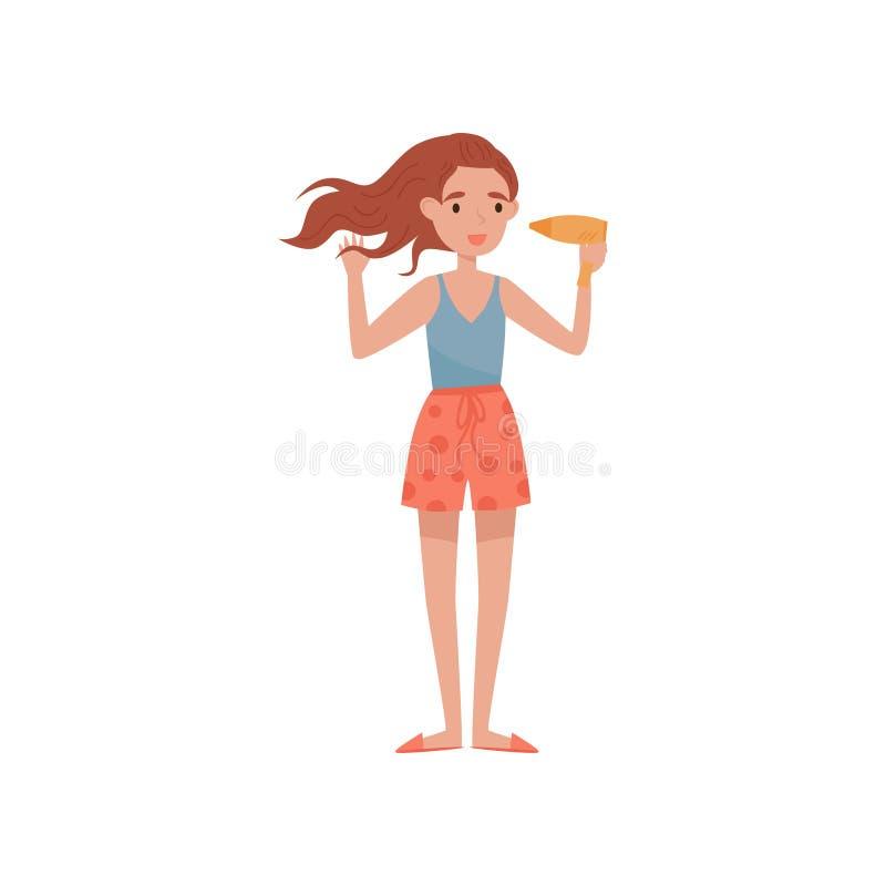Mädchen, das ihr Haar mit Trockner, Schönheitsbehandlung, junge Frau nimmt Sorgfalt von Vektor Illustration auf einem Weiß trockn vektor abbildung