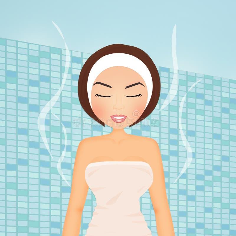 Mädchen, das im türkischen Bad sich entspannt lizenzfreie abbildung