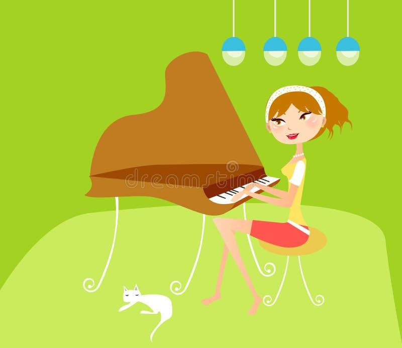 Mädchen, das Klavier spielt vektor abbildung