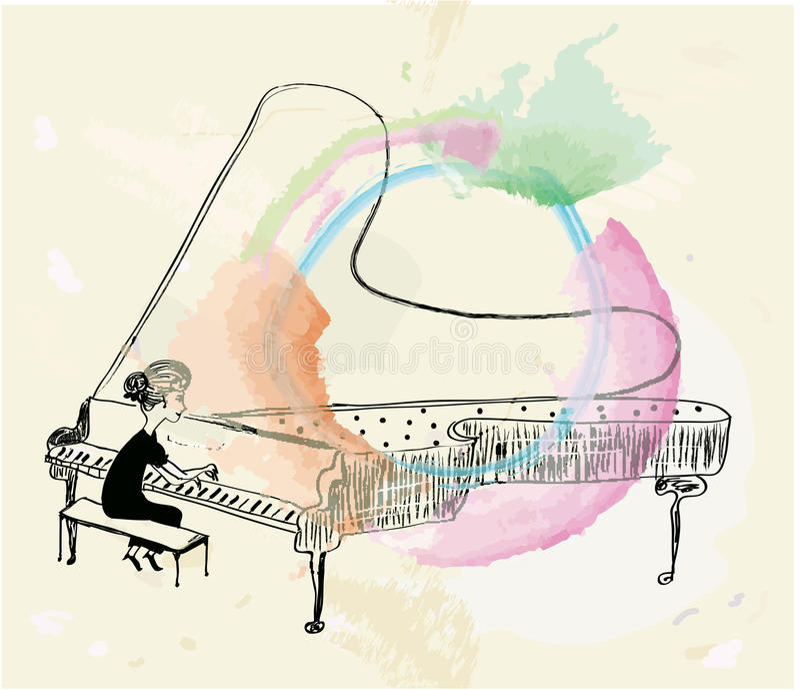 Mädchen, das Klavierskizze spielt vektor abbildung