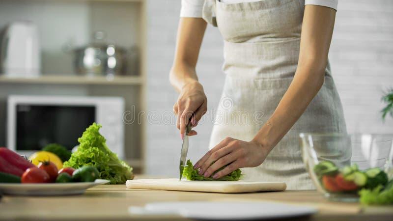 Mädchen, das Kopfsalatblatt bevor dem Hinzufügen in der Glasschüssel, gesunder Lebensstil, Diät hackt lizenzfreies stockfoto