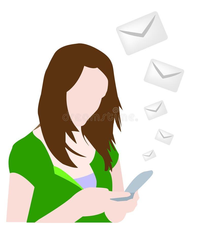 Mädchen, das Meldung durch Mobile sendet lizenzfreie abbildung