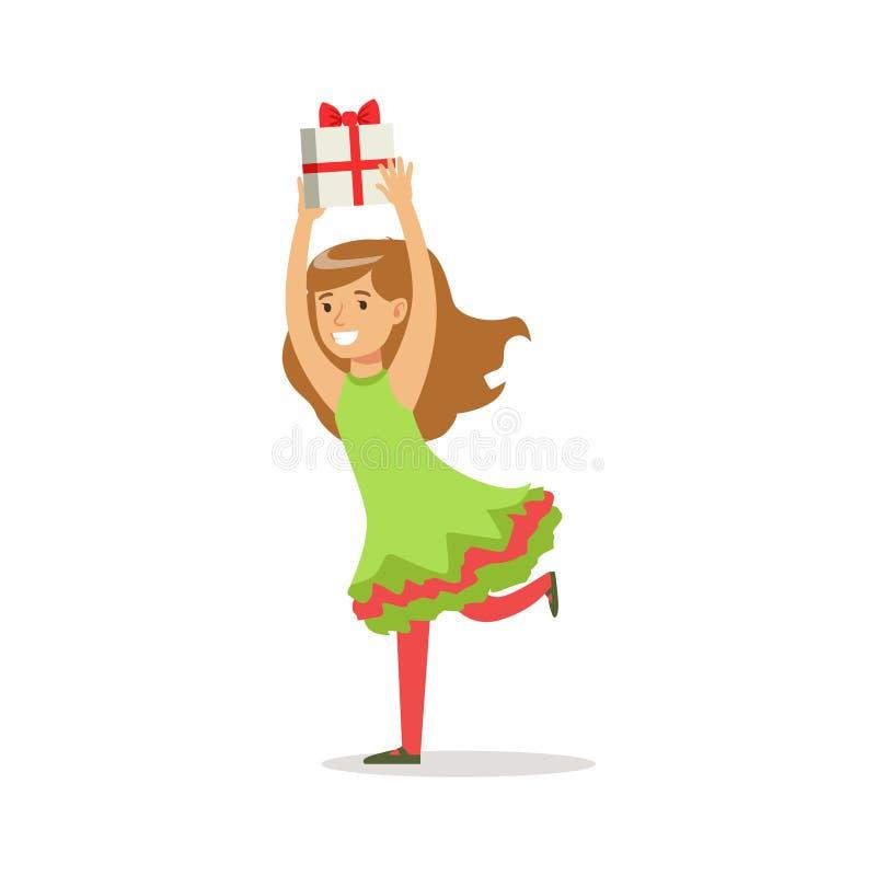 Mädchen, das mit dem Geschenk gekleidet als Santa Claus Christmas Elf For The-Kostüm-Feiertags-Karnevals-Partei läuft lizenzfreie abbildung