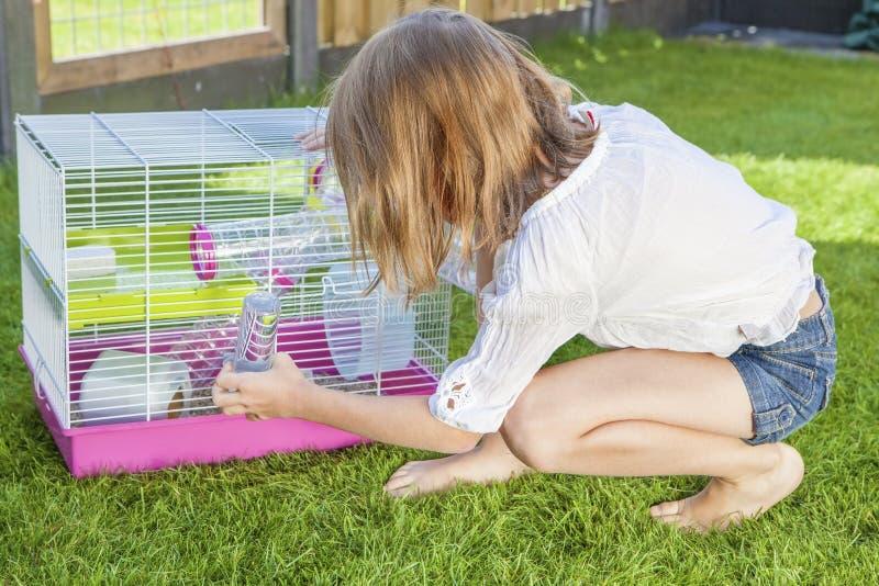 Mädchen, das mit dem Hamster im Käfig spielt lizenzfreie stockfotos