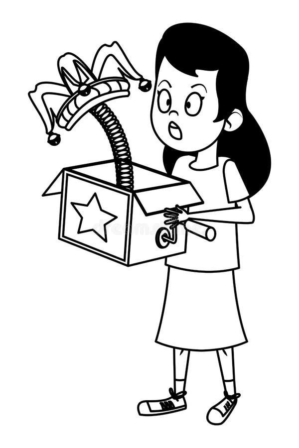 Mädchen, das mit dem Witzkasten Schwarzweiss überrascht ist vektor abbildung