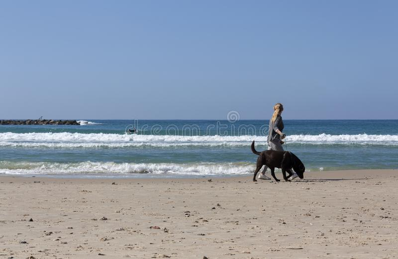 Mädchen, das mit einem Hund entlang dem Ufer geht stockbild