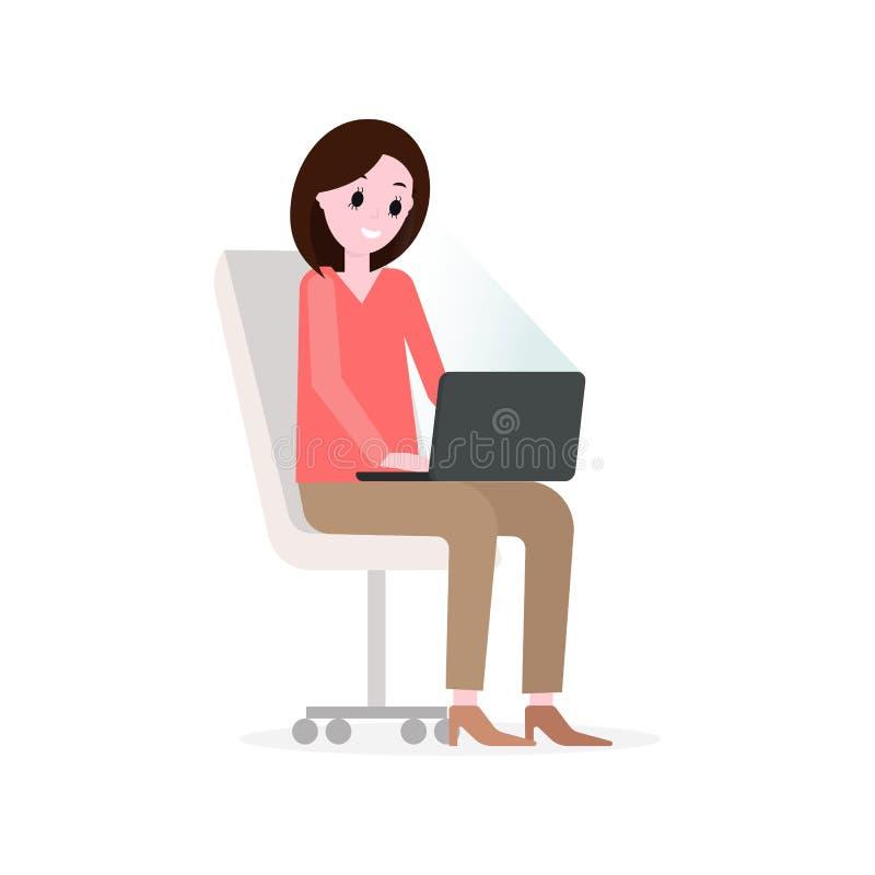 Mädchen, das mit Laptop auf dem Bürostuhl, den Schirm betrachtend arbeitet Flache Illustration des Vektors stock abbildung