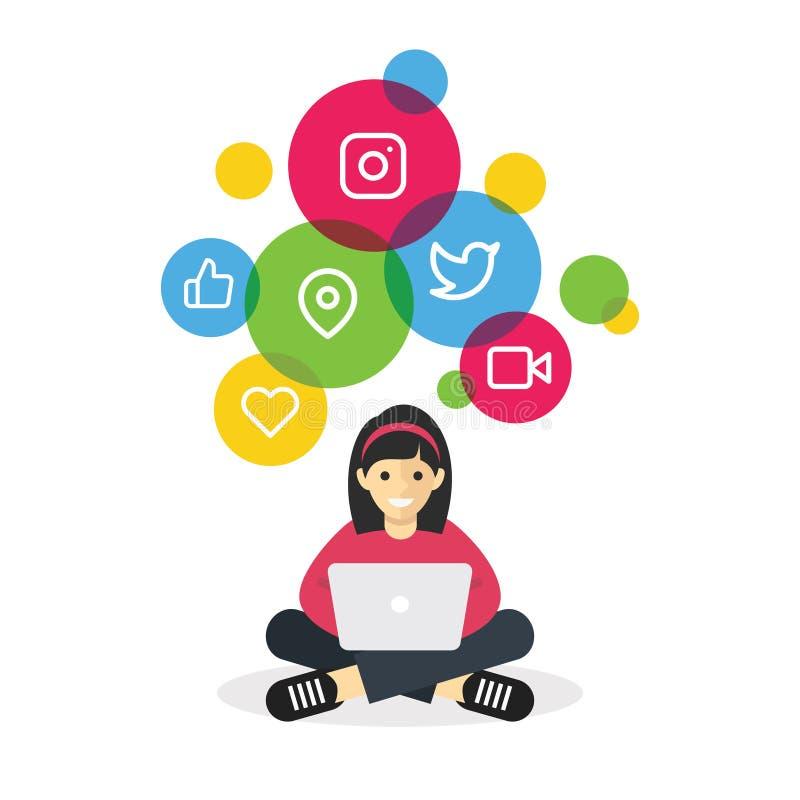 Mädchen, das mit Laptopgraseninternet-Social Media sitzt vektor abbildung