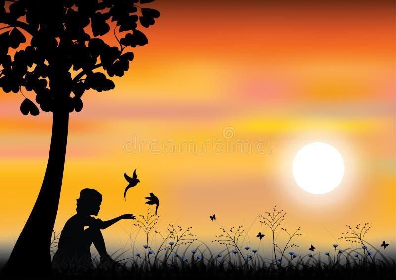 Mädchen, das mit Vögeln unter Baum, Vektorillustrationen spielt vektor abbildung