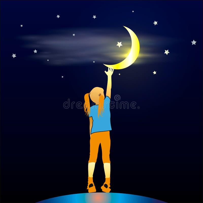 Mädchen, das oben dem Mond betrachtet stock abbildung