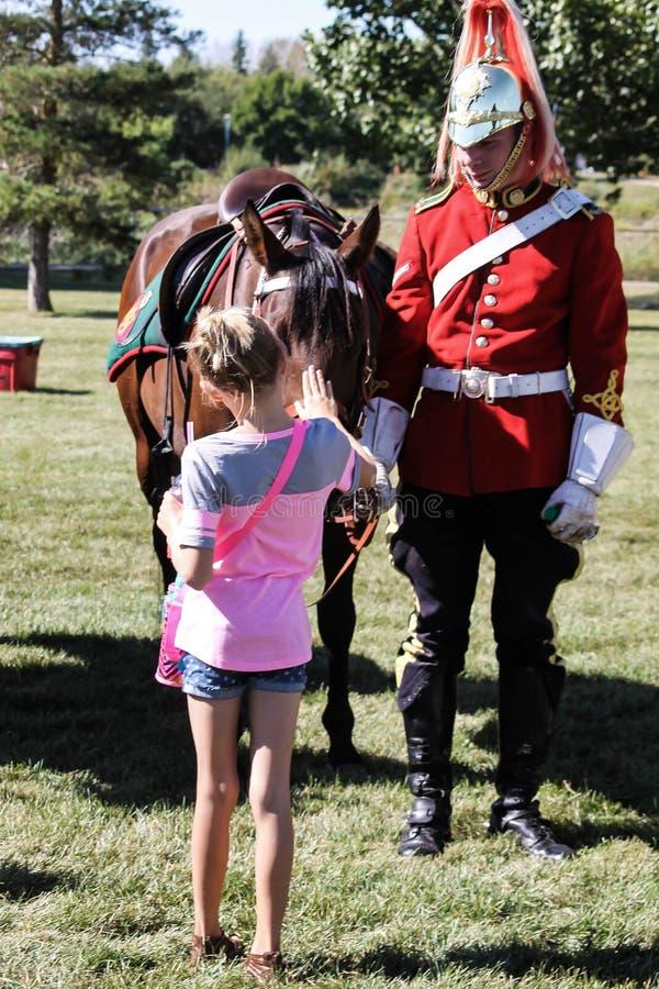 Mädchen, das Pferd petting ist lizenzfreie stockfotografie