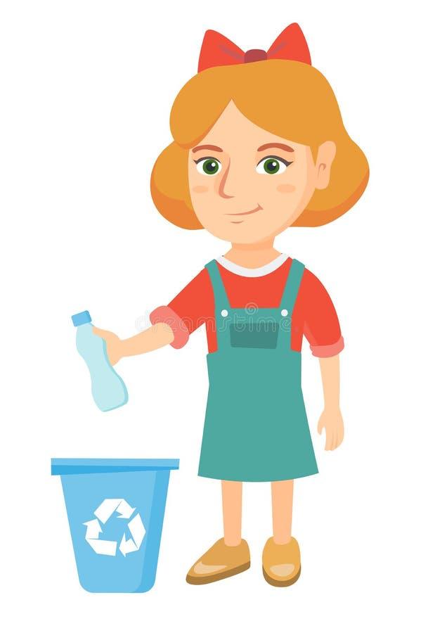 Mädchen, das Plastikflasche im Papierkorb wirft stock abbildung