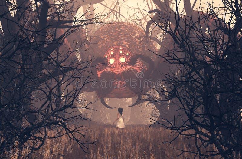 Mädchen, das riesige Spinne im gruseligen Wald betrachtet stock abbildung