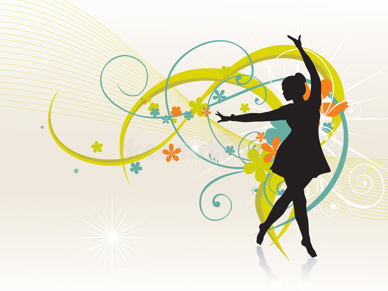 Mädchen, das schönen Hintergrund tanzt lizenzfreie abbildung