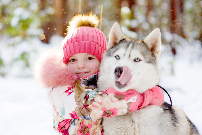 Mädchen, das Schlittenhunde im Winterwald umarmt lizenzfreie stockfotografie