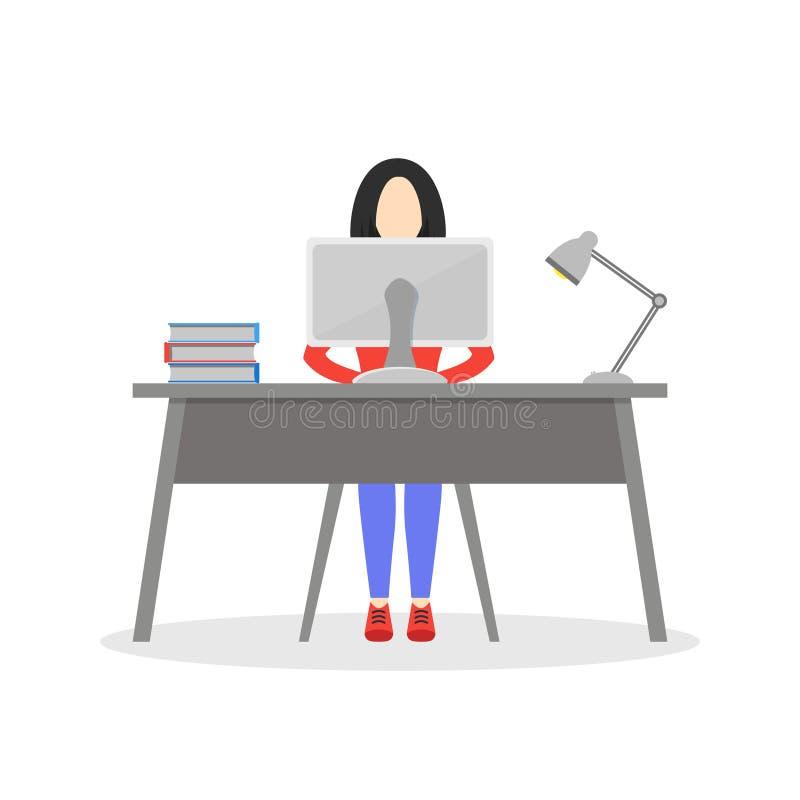 Mädchen, das am Schreibtisch sitzt stock abbildung