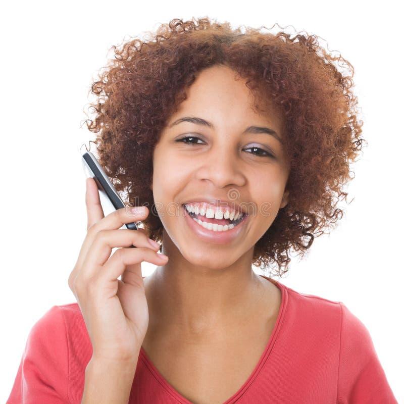 Mädchen, das am Telefon spricht lizenzfreie stockfotografie