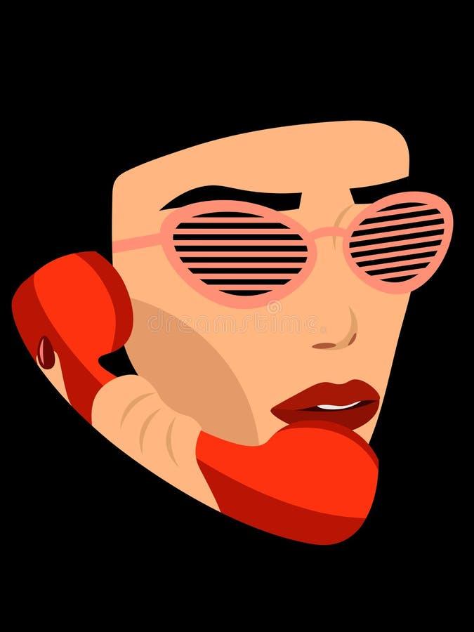 Mädchen, das am Telefon spricht vektor abbildung