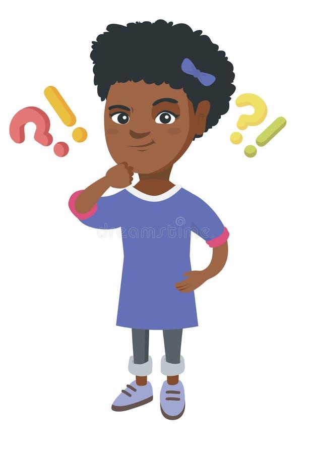 Mädchen, das unter Frage und Ausrufezeichen steht lizenzfreie abbildung