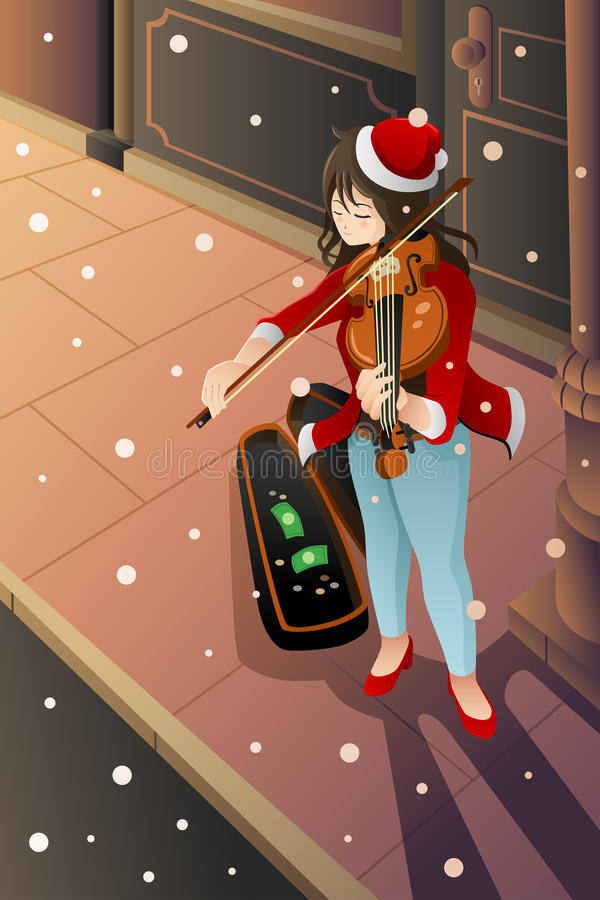 Mädchen, das Violine spielt stock abbildung