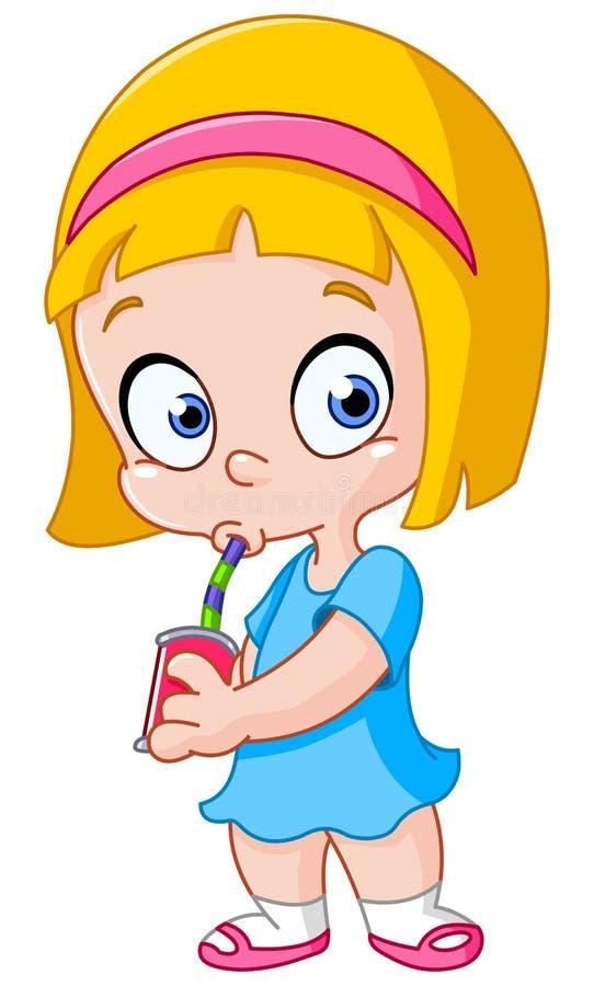 Mädchen, das von einer Dose trinkt stock abbildung