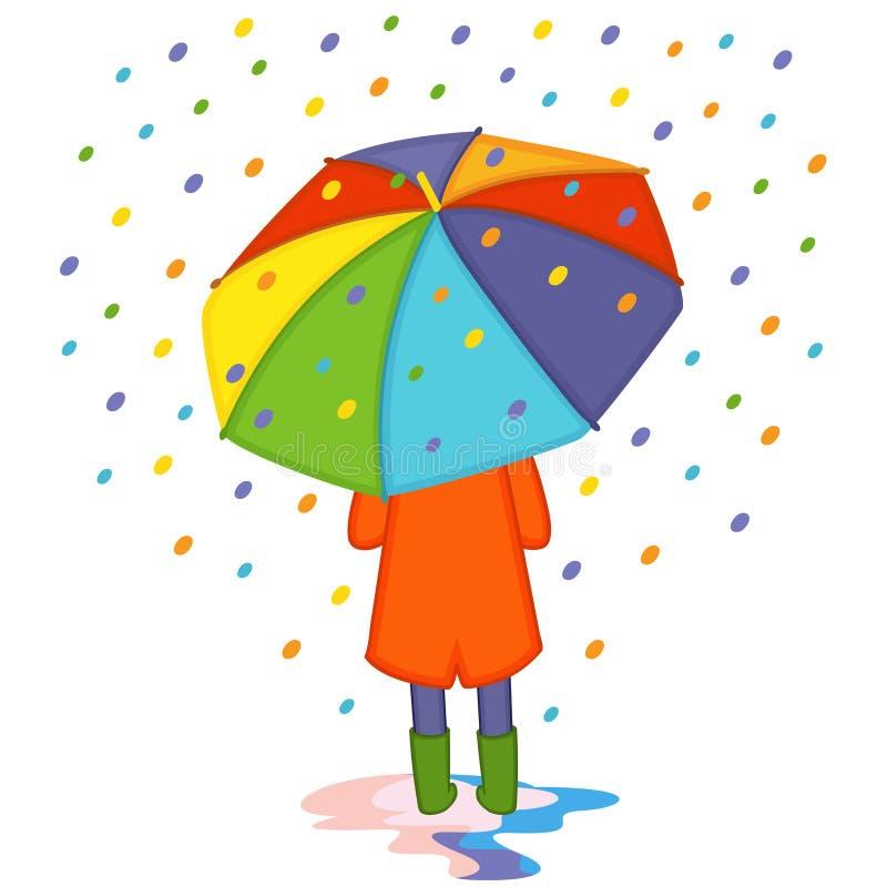 Mädchen, das von farbigem Regen unter Regenschirmrückseitenansicht sich versteckt stock abbildung