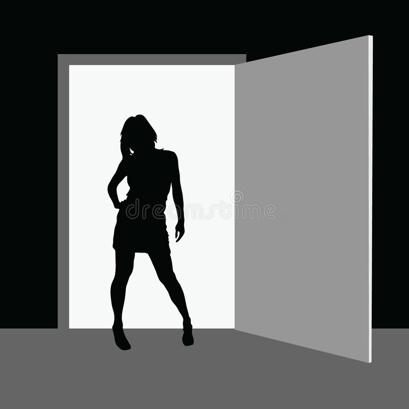 Mädchen, das vor dem Raum steht stock abbildung