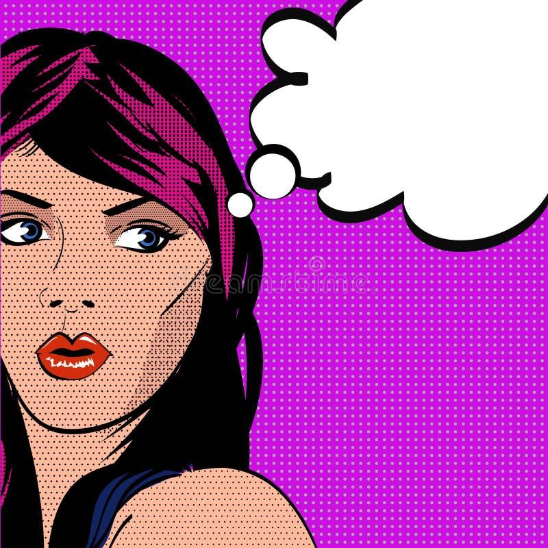Mädchen, das vorbei schaut Pop-Arten-Art-Vektorillustration vektor abbildung