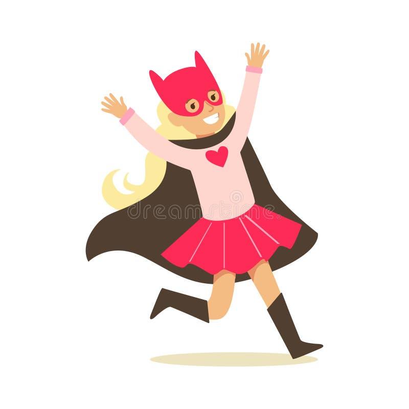 Mädchen, das vortäuscht, die Supermächte zu haben gekleidet im rosa Superheld-Kostüm mit schwarzem Kap und Cat Mask Smiling Chara vektor abbildung