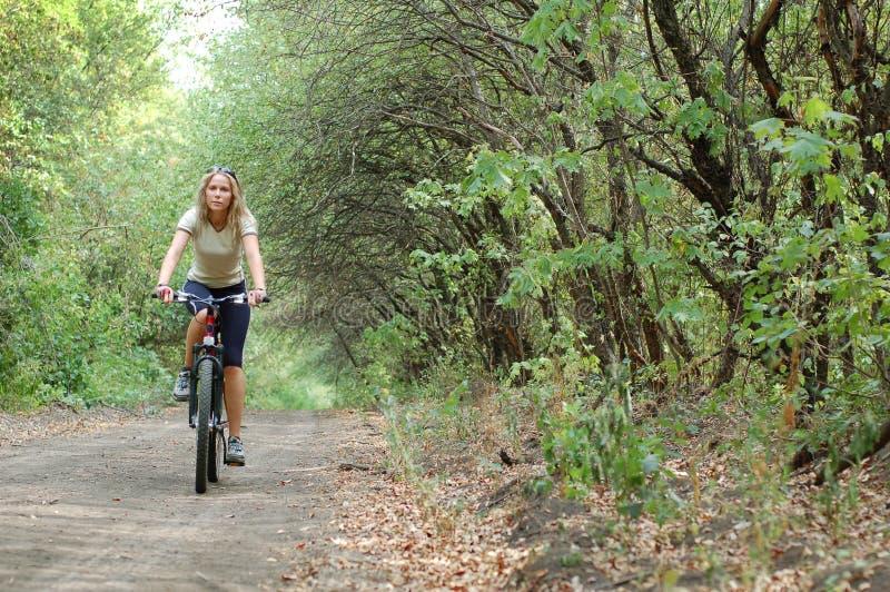 Mädchen, das in Wald radfährt lizenzfreie stockbilder