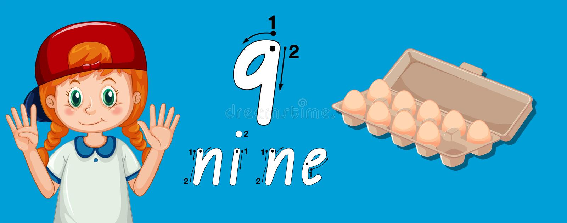 Mädchen, das wie man Nr. neun zeigt, schreibt vektor abbildung