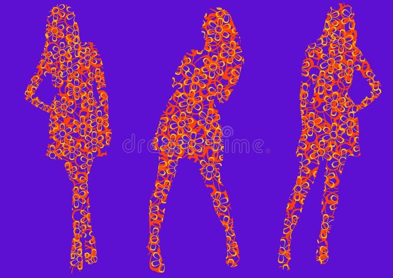 Mädchen in den Farbenkleidern vektor abbildung