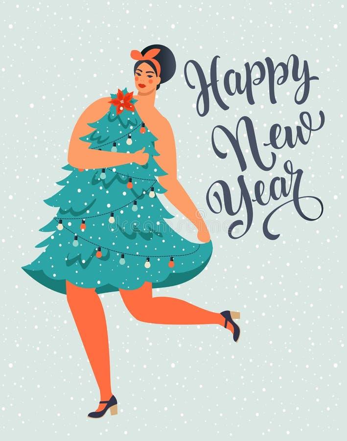 Mädchen in den Formblättern für Weihnachtsbaumkleidung Weihnachts- und Glückwunschbild Neujahr Trendy Retrostil Vektor-Design lizenzfreie abbildung