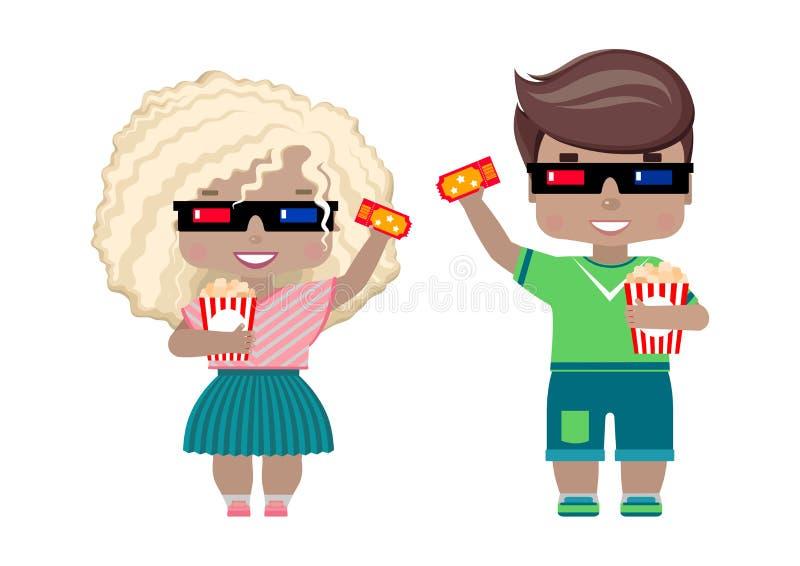 Mädchen in den Gläsern 3D, mit einer Karte ins Kino und Popcorn stock abbildung