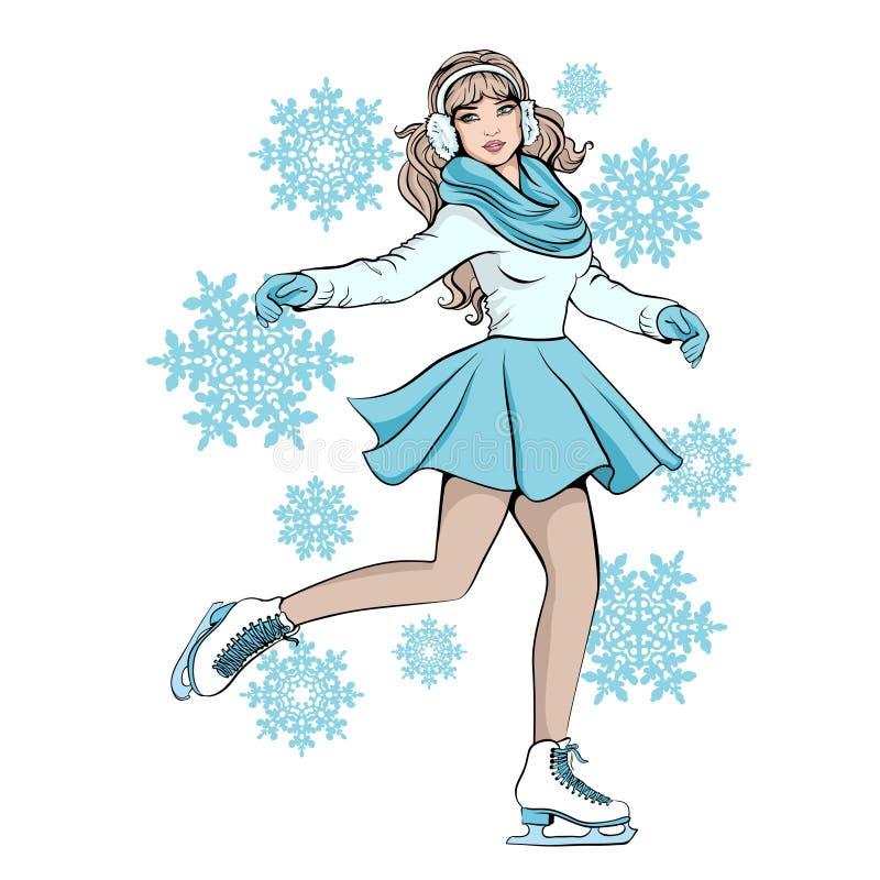 Mädchen in den Handschuhen und Schal, Schlittschuhläufer läuft eis stock abbildung
