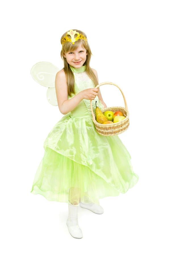 Mädchen in den Kostümfeen mit Äpfeln lizenzfreie stockfotografie