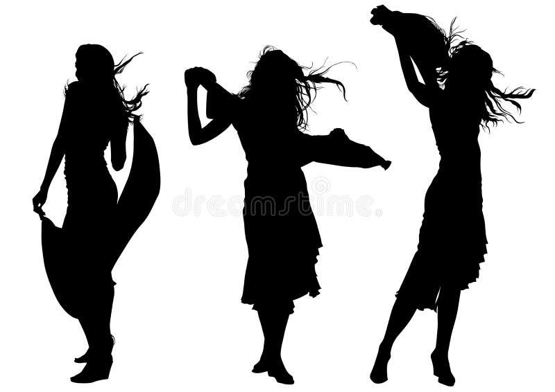 Mädchen in den langen Kleidern vektor abbildung