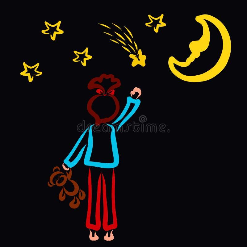 Mädchen in den Pyjamas mit einem Teddybären in ihrer Hand möchte eine Sternschnuppe fangen vektor abbildung