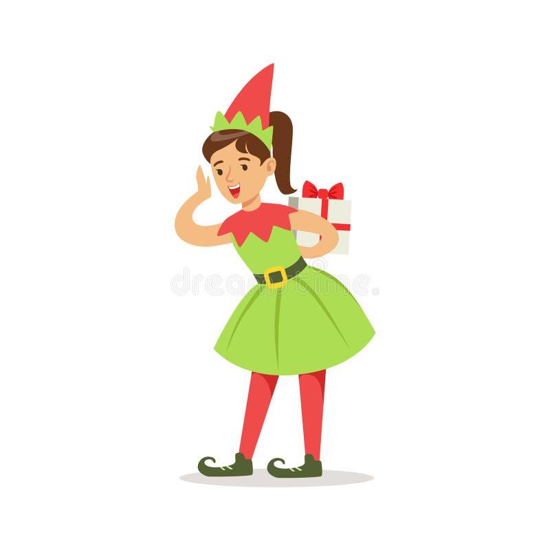 Mädchen In Den Spitzen Schuhen Mit Dem Geschenk Gekleidet Als Santa ...