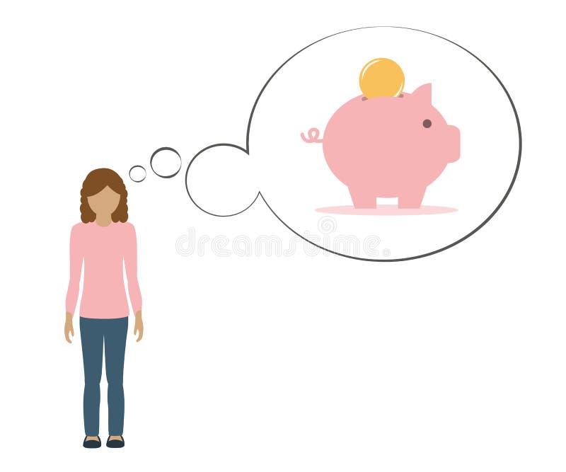 Mädchen denkt an Rettungsgeld in einem Sparschwein stock abbildung