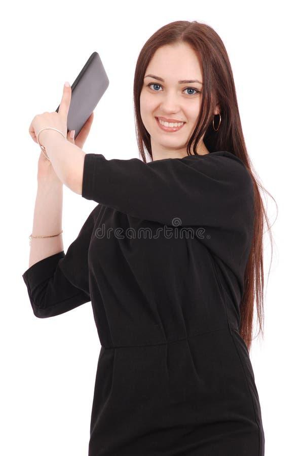 Mädchen in der Bewegung hält Tablet-Computer lizenzfreie stockfotos