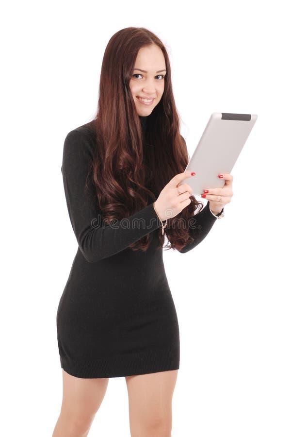 Mädchen in der Bewegung hält Tablet-Computer lizenzfreies stockbild