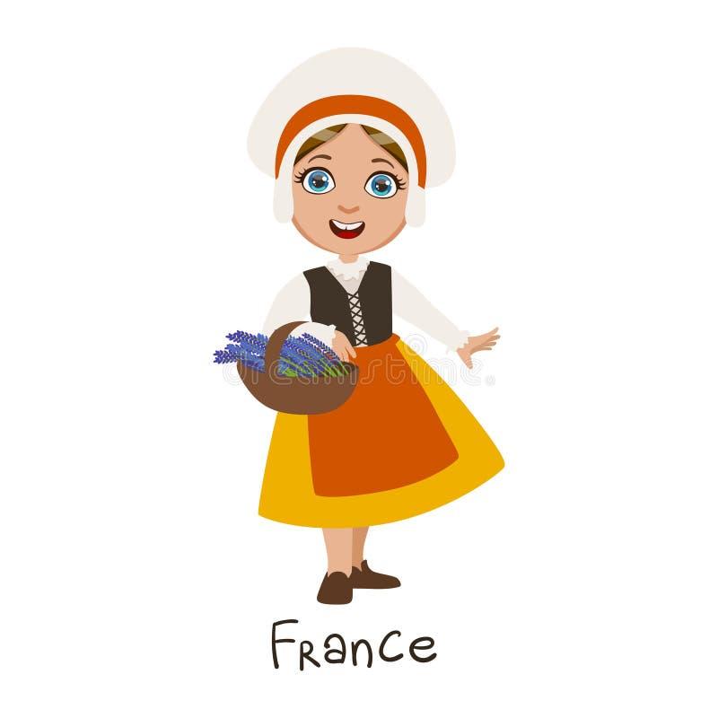 Mädchen in der Frankreich-Land-nationalen Kleidung, in tragender Mütze und in Schutzblech traditionell für die Nation lizenzfreie abbildung
