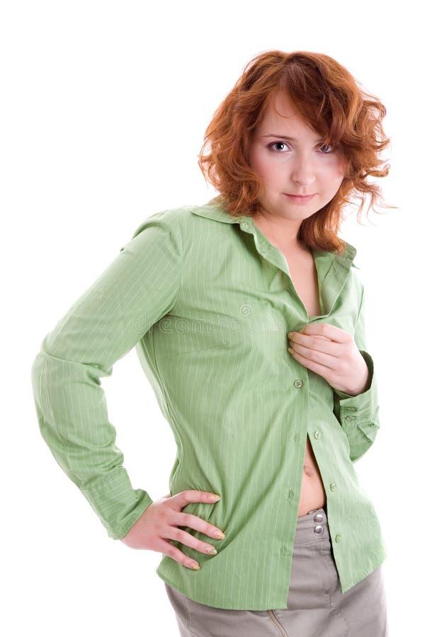Mädchen in der grünen Bluse stockfotos