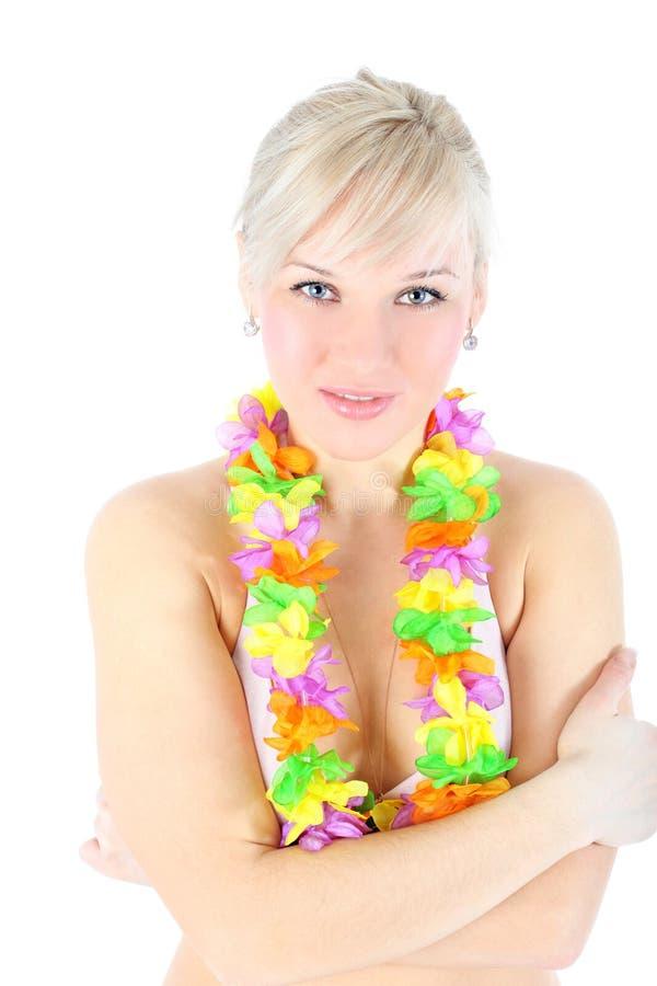 Mädchen in der hawaiischen Blume stockbild