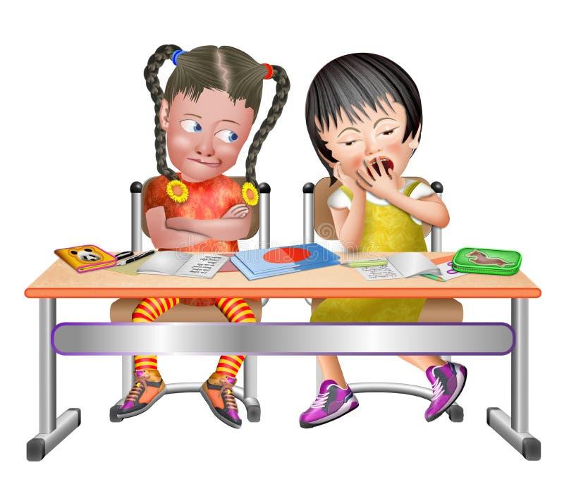 2 Mädchen in der Klasse am Schreibtisch lizenzfreie abbildung